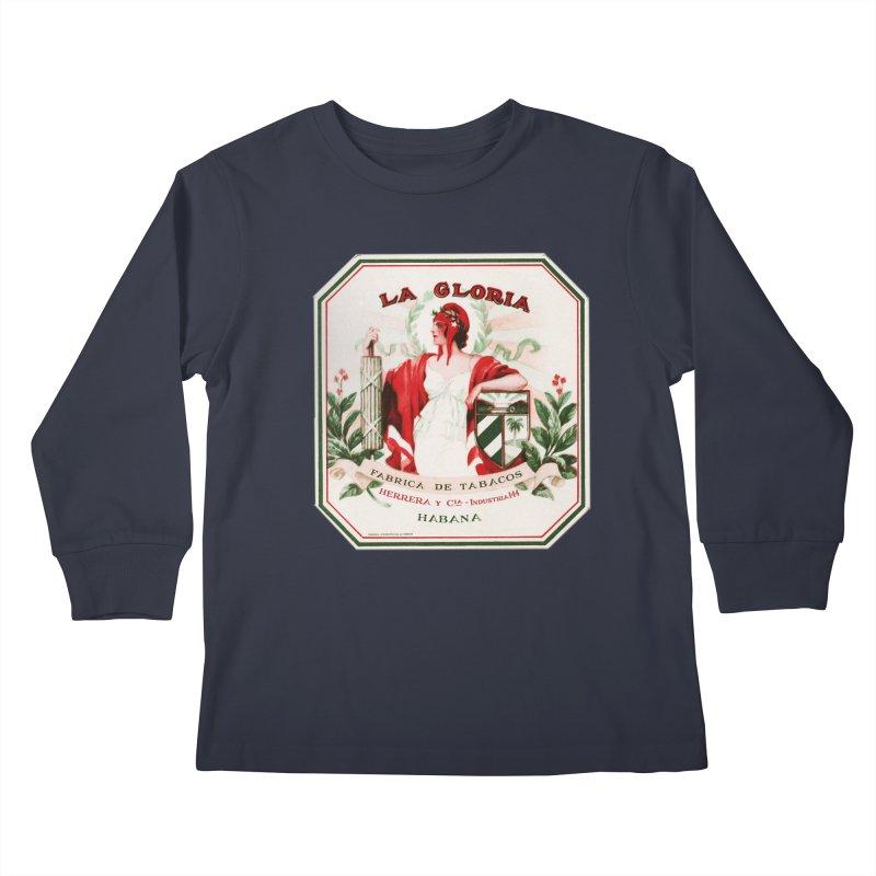 Cuba La Gloria Vintage Cigar Label 1930s Kids Longsleeve T-Shirt by The Cuba Travel Store Artist Shop