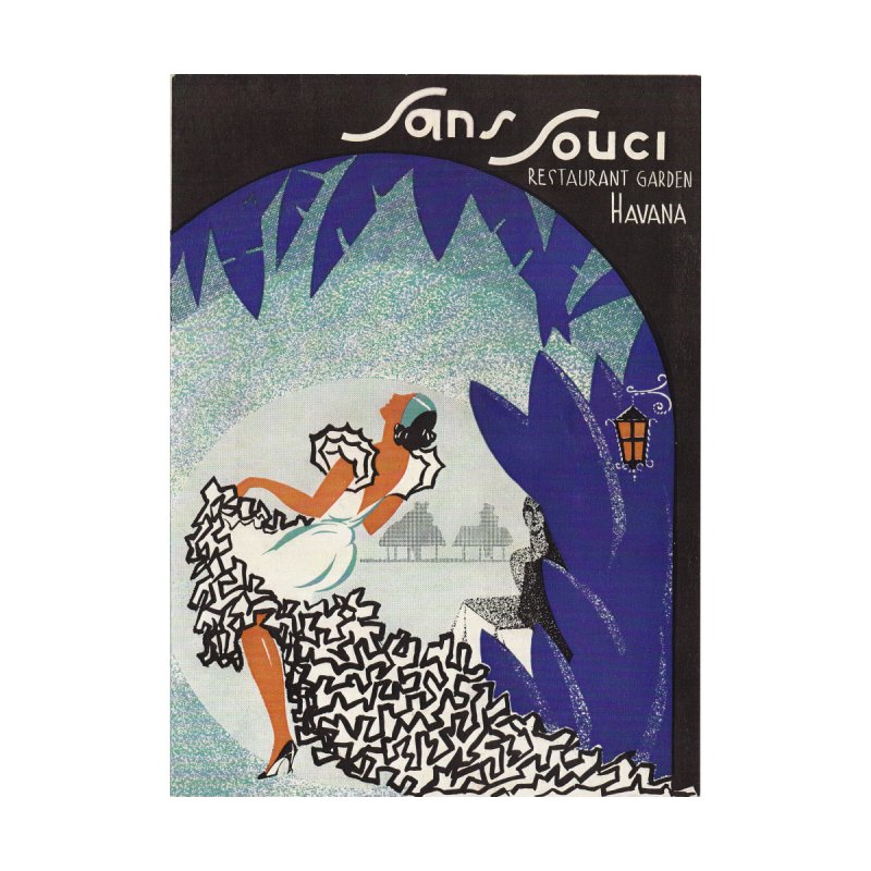 Cuba San Souci Vintage Nightclub Menu Cover 1950s Women's Scoop Neck by The Cuba Travel Store Artist Shop