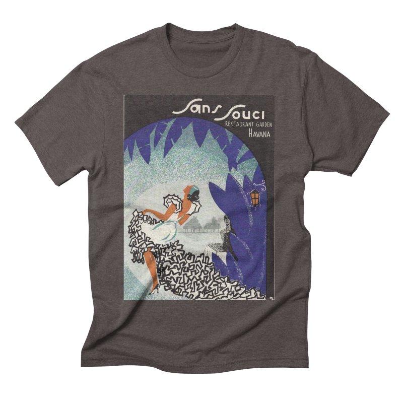 Cuba San Souci Vintage Nightclub Menu Cover 1950s Men's Triblend T-Shirt by The Cuba Travel Store Artist Shop