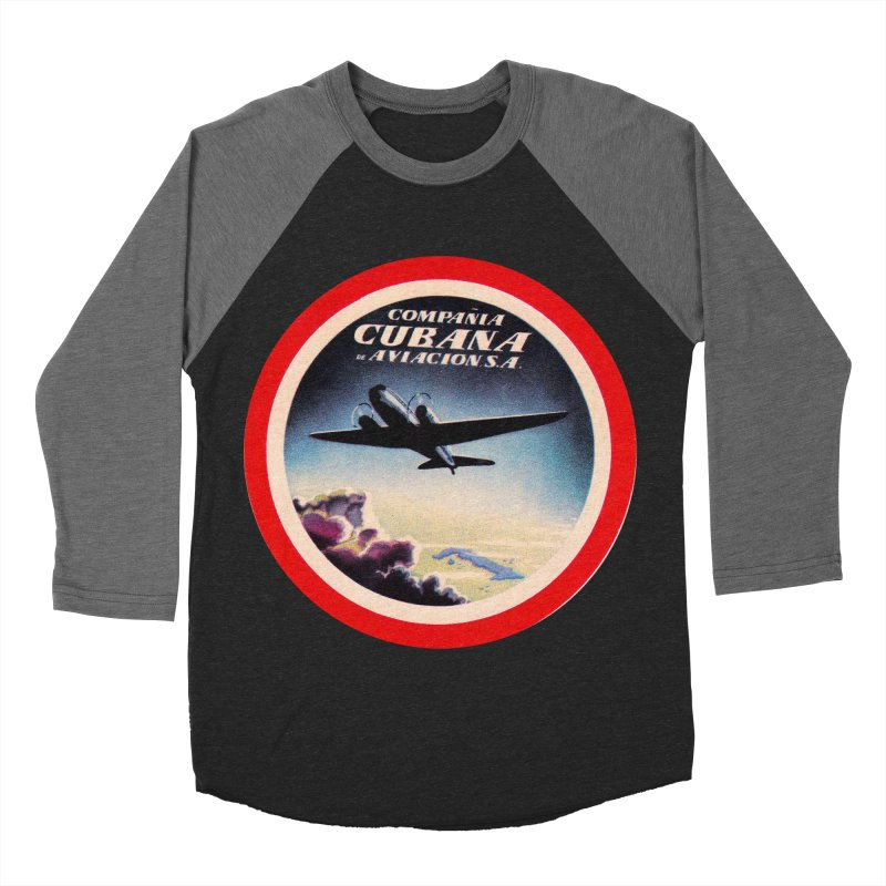 Cubana Airlines Vintage Luggage Tag 1950s Women's Baseball Triblend Longsleeve T-Shirt by The Cuba Travel Store Artist Shop
