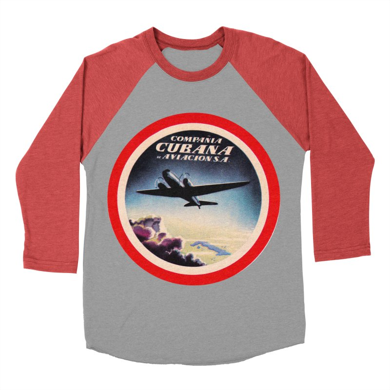 Cubana Airlines Vintage Luggage Tag 1950s Men's Baseball Triblend Longsleeve T-Shirt by The Cuba Travel Store Artist Shop