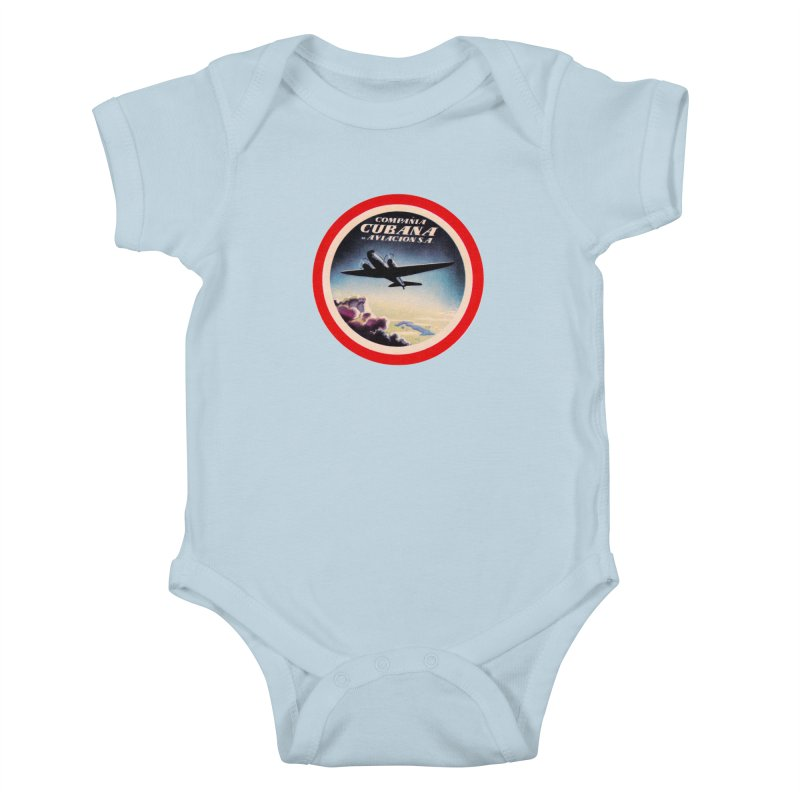 Cubana Airlines Vintage Luggage Tag 1950s Kids Baby Bodysuit by The Cuba Travel Store Artist Shop