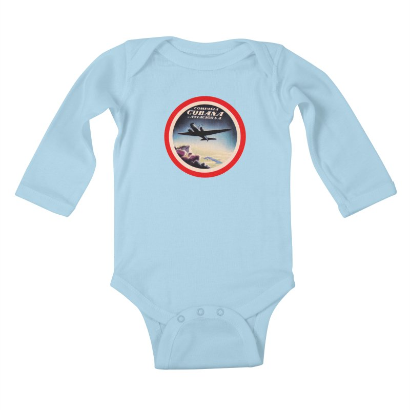 Cubana Airlines Vintage Luggage Tag 1950s Kids Baby Longsleeve Bodysuit by The Cuba Travel Store Artist Shop