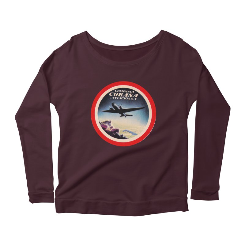 Cubana Airlines Vintage Luggage Tag 1950s Women's Scoop Neck Longsleeve T-Shirt by The Cuba Travel Store Artist Shop