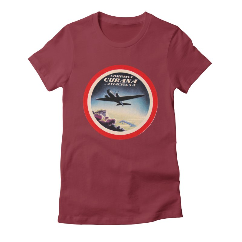 Cubana Airlines Vintage Luggage Tag 1950s Women's Fitted T-Shirt by The Cuba Travel Store Artist Shop