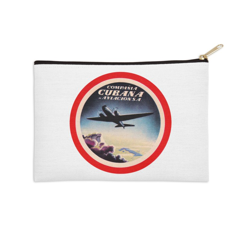 Cubana Airlines Vintage Luggage Tag 1950s Accessories Zip Pouch by The Cuba Travel Store Artist Shop