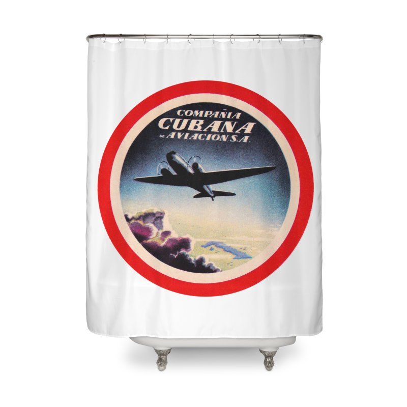 Cubana Airlines Vintage Luggage Tag 1950s Home Shower Curtain by The Cuba Travel Store Artist Shop