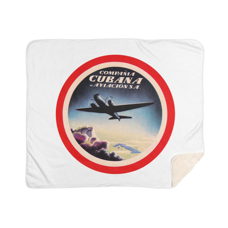 Cubana Airlines Vintage Luggage Tag 1950s Home Blanket by The Cuba Travel Store Artist Shop