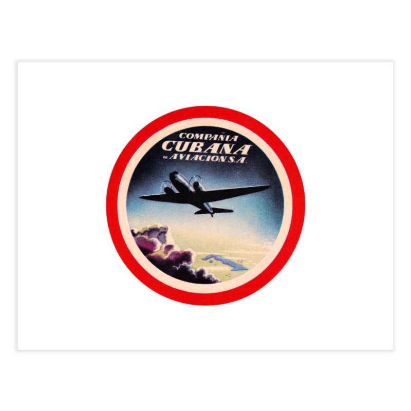 Cubana Airlines Vintage Luggage Tag 1950s Home Fine Art Print by The Cuba Travel Store Artist Shop