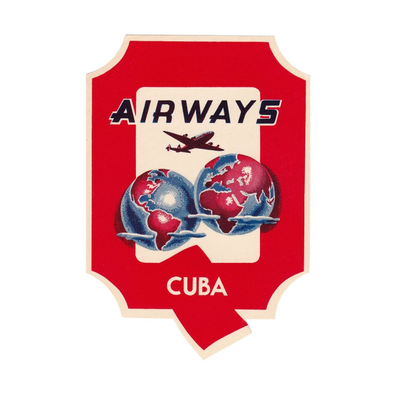 Q Cuban Airways - 1950s Home Stretched Canvas by The Cuba Travel Store Artist Shop