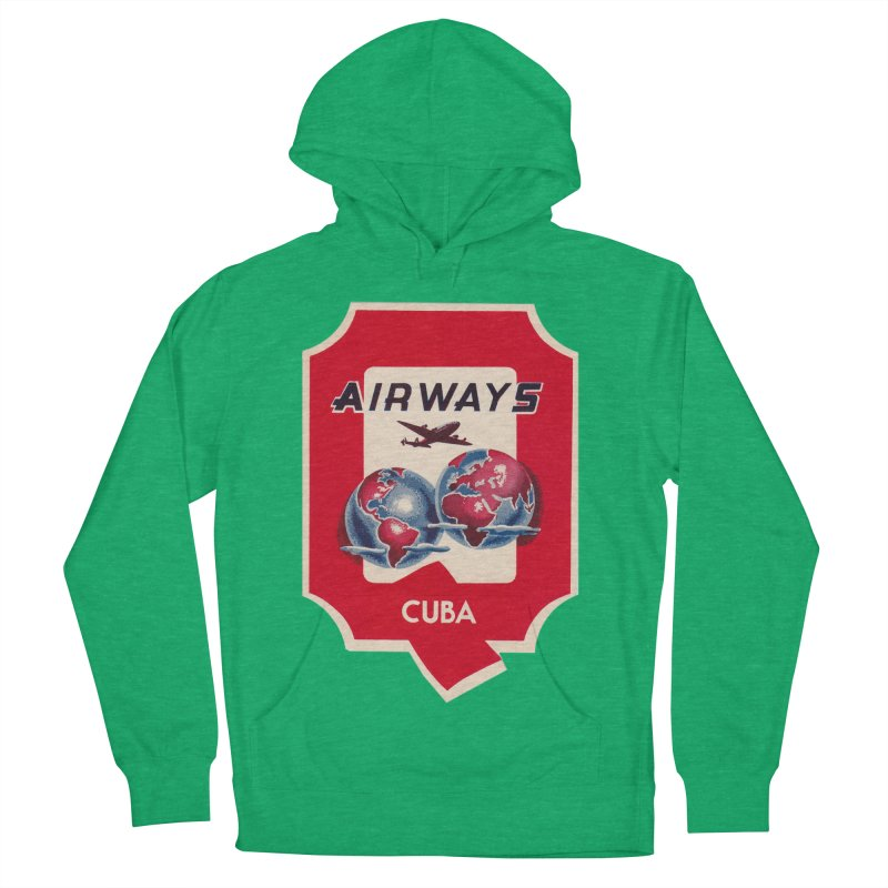 Q Cuban Airways - 1950s Men's French Terry Pullover Hoody by The Cuba Travel Store Artist Shop