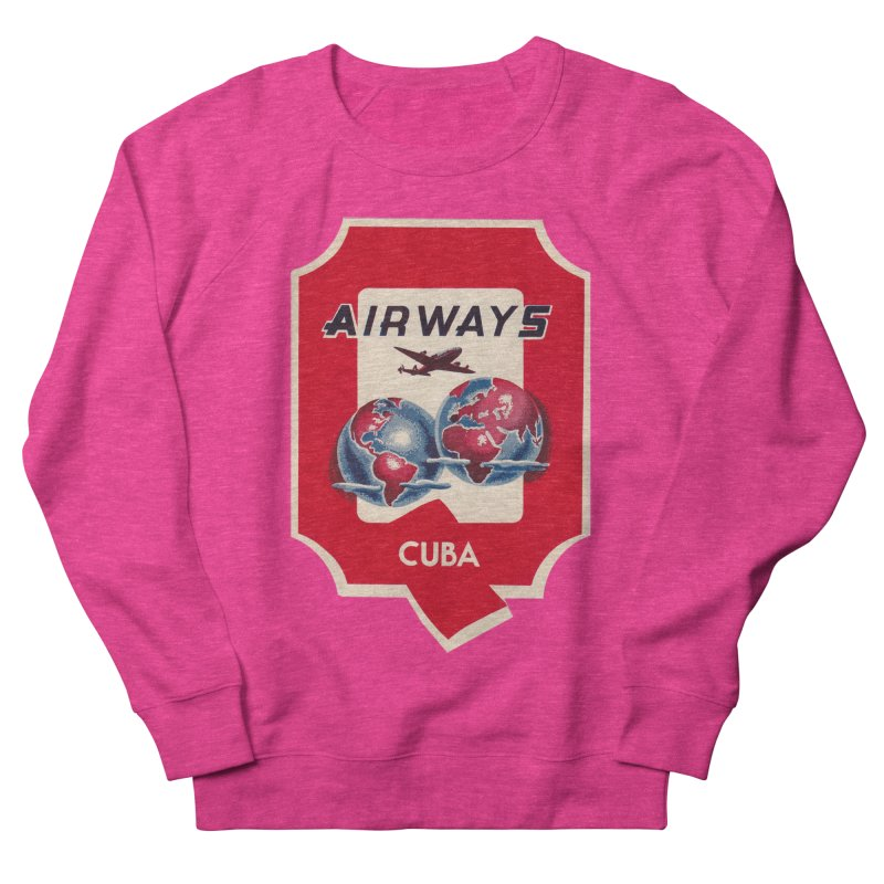 Q Cuban Airways - 1950s Men's French Terry Sweatshirt by The Cuba Travel Store Artist Shop