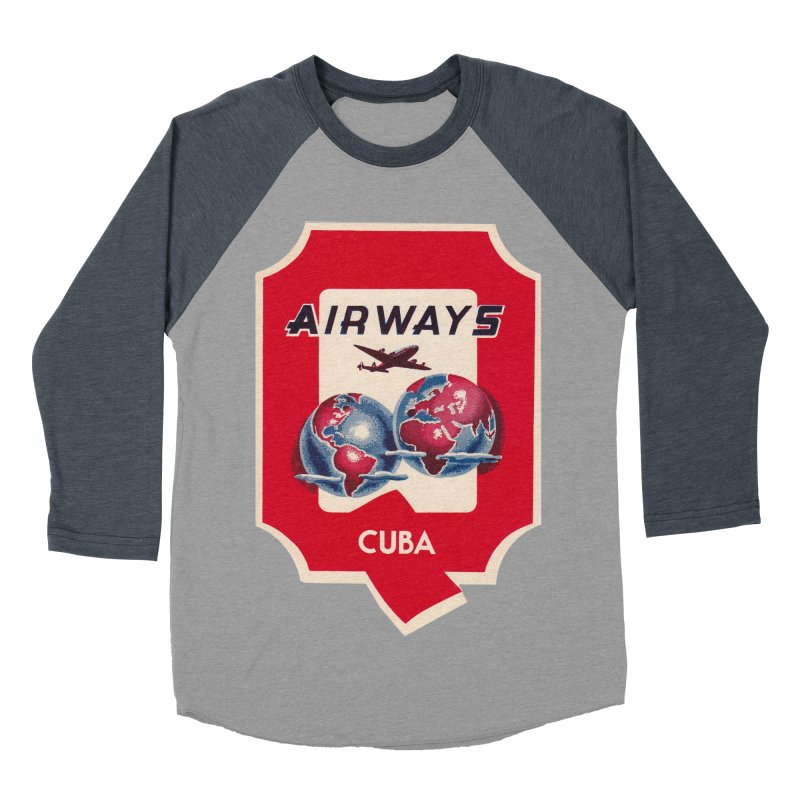 Q Cuban Airways - 1950s Men's Baseball Triblend Longsleeve T-Shirt by The Cuba Travel Store Artist Shop