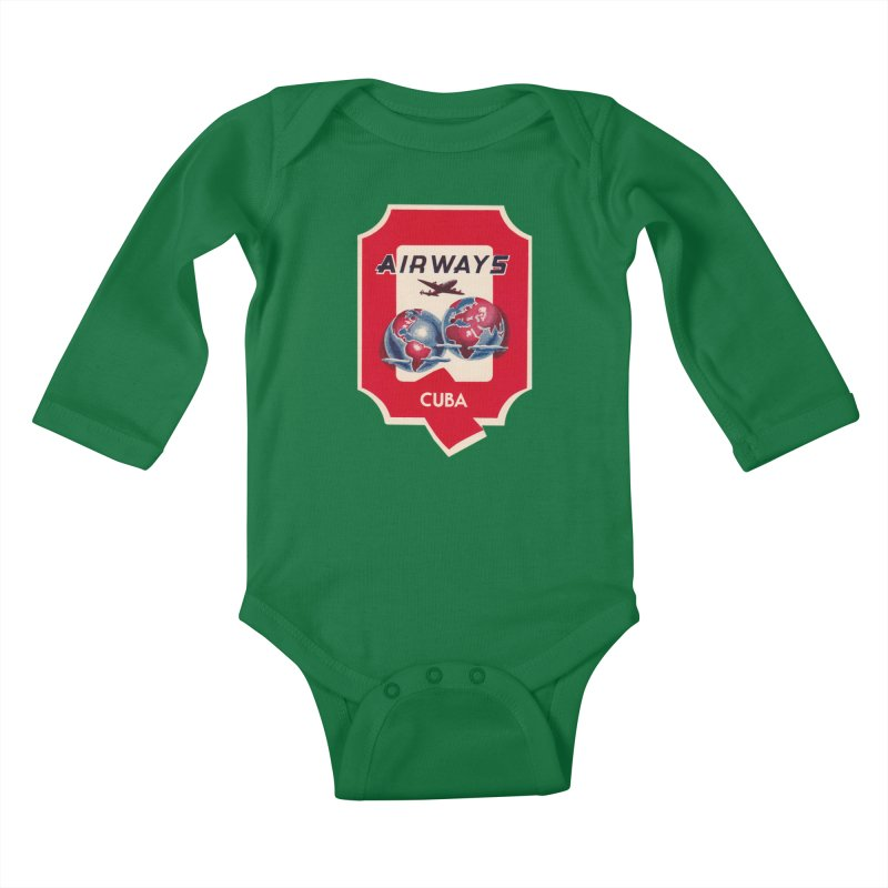 Q Cuban Airways - 1950s Kids Baby Longsleeve Bodysuit by The Cuba Travel Store Artist Shop