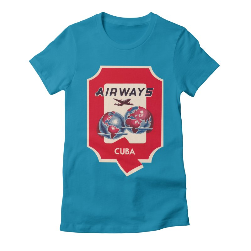 Q Cuban Airways - 1950s Women's Fitted T-Shirt by The Cuba Travel Store Artist Shop