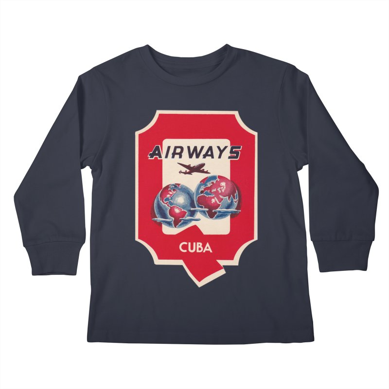 Q Cuban Airways - 1950s Kids Longsleeve T-Shirt by The Cuba Travel Store Artist Shop