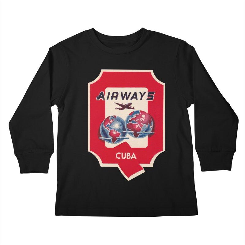 Q Cuban Airways - 1950s Kids Longsleeve T-Shirt by The Cuba Travel Store Artist Shop