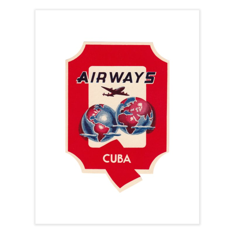 Q Cuban Airways - 1950s Home Fine Art Print by The Cuba Travel Store Artist Shop