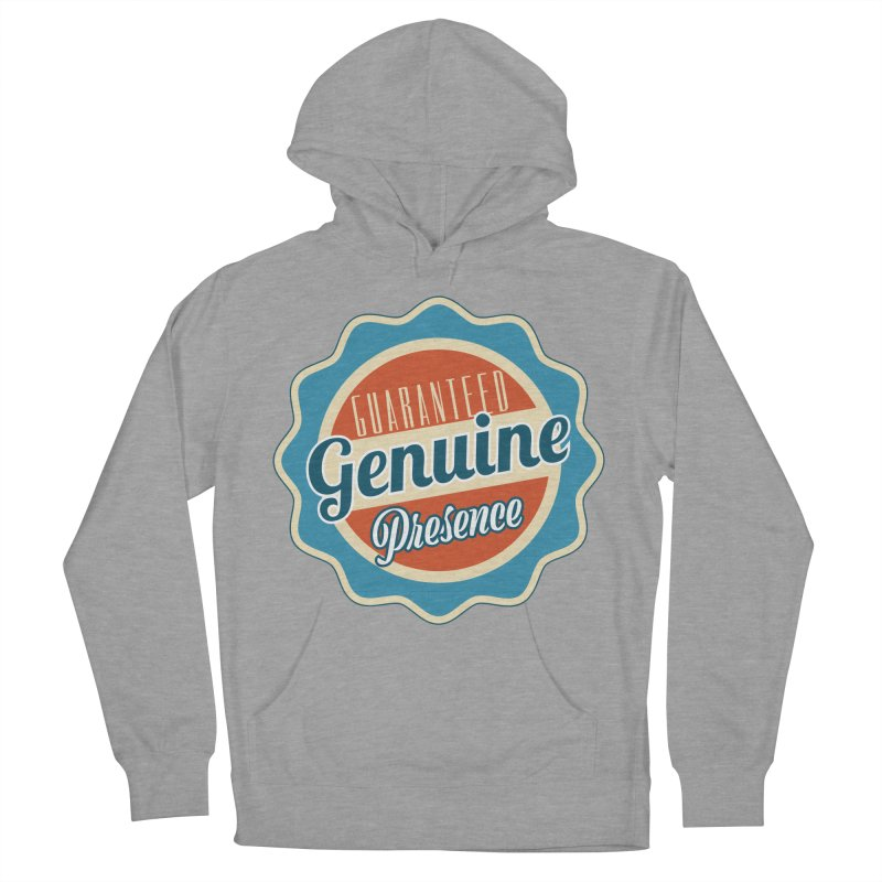 Retro-Style Genuine Presence Men's French Terry Pullover Hoody by The Daily Buddha Artist Shop