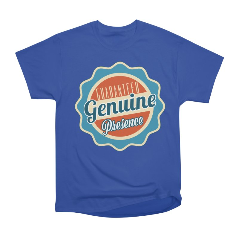 Retro-Style Genuine Presence Women's Heavyweight Unisex T-Shirt by The Daily Buddha Artist Shop