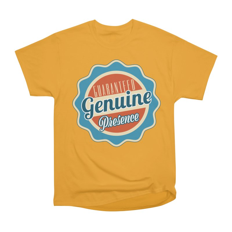 Retro-Style Genuine Presence Men's Heavyweight T-Shirt by The Daily Buddha Artist Shop