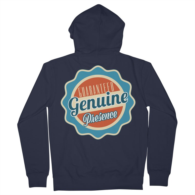 Retro-Style Genuine Presence Men's French Terry Zip-Up Hoody by The Daily Buddha Artist Shop
