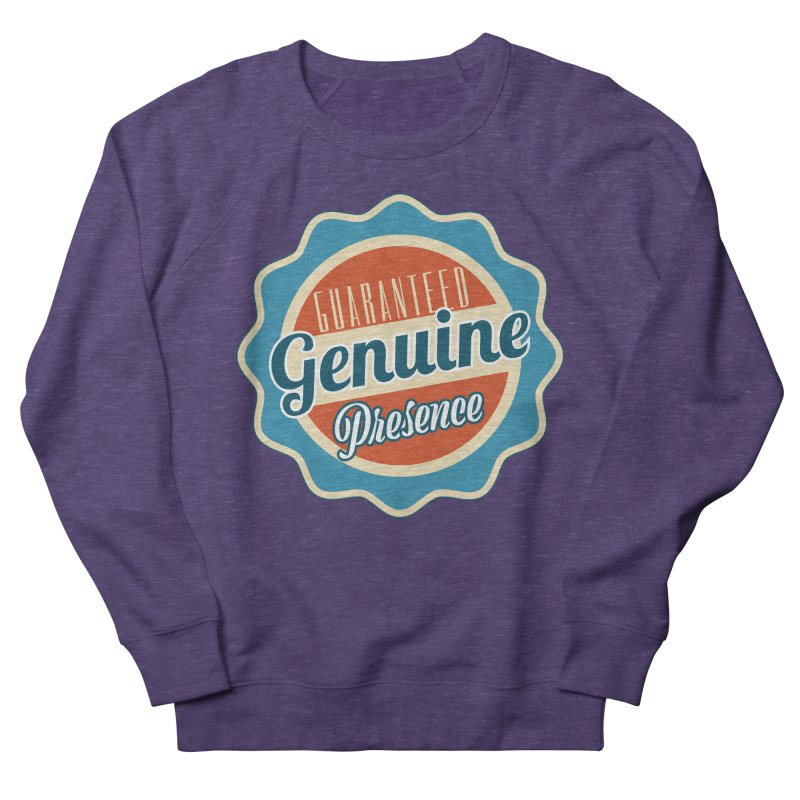 Retro-Style Genuine Presence Men's French Terry Sweatshirt by The Daily Buddha Artist Shop