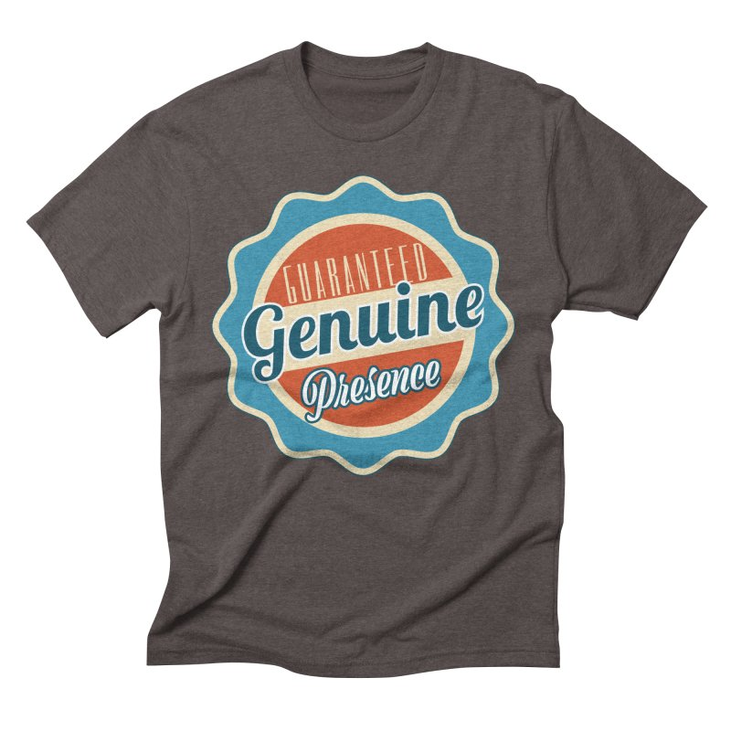 Retro-Style Genuine Presence Men's Triblend T-Shirt by The Daily Buddha Artist Shop