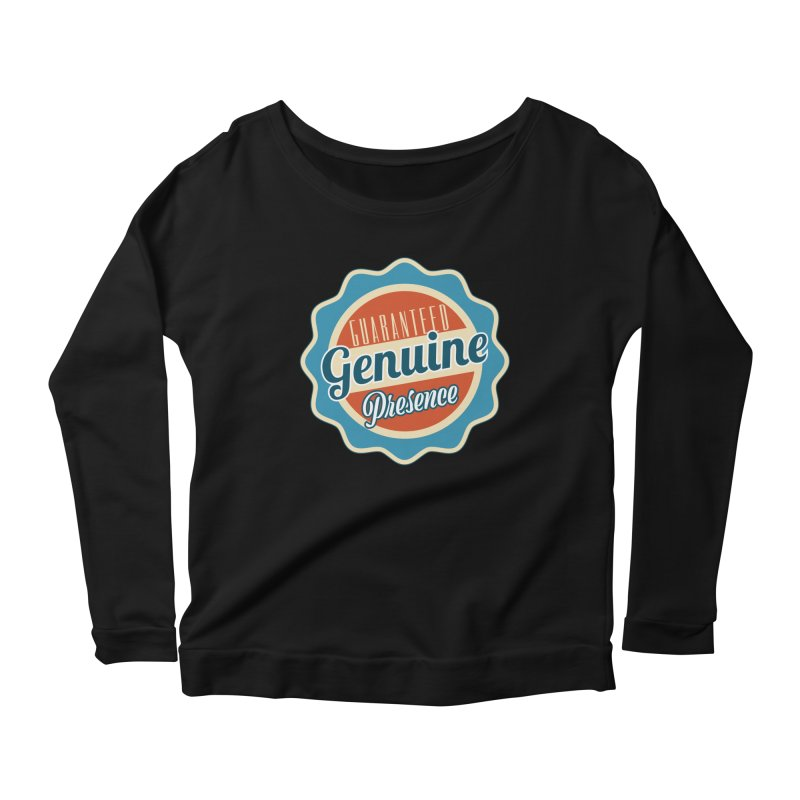 Retro-Style Genuine Presence Women's Scoop Neck Longsleeve T-Shirt by The Daily Buddha Artist Shop