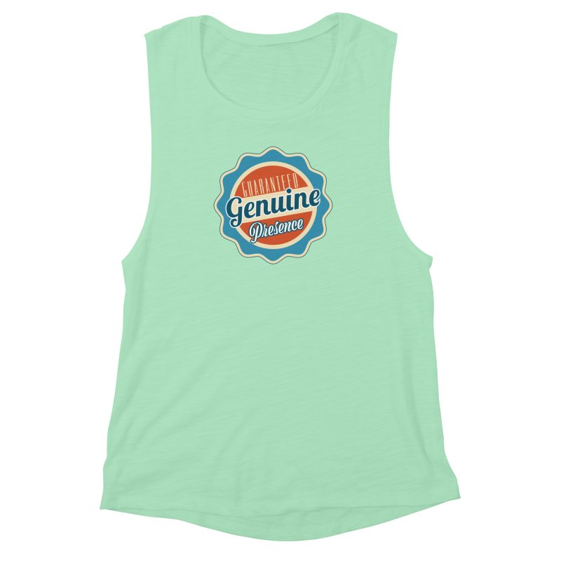 Retro-Style Genuine Presence Women's Muscle Tank by The Daily Buddha Artist Shop