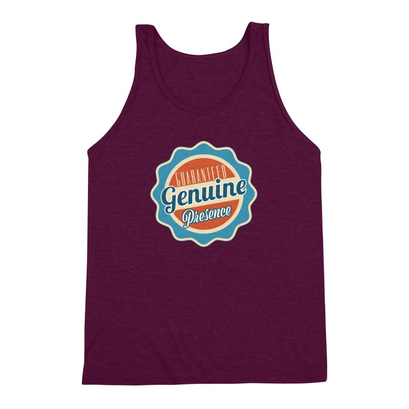 Retro-Style Genuine Presence Men's Triblend Tank by The Daily Buddha Artist Shop