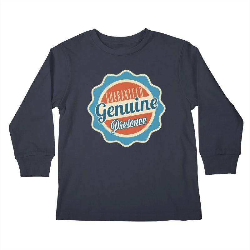 Retro-Style Genuine Presence Kids Longsleeve T-Shirt by The Daily Buddha Artist Shop