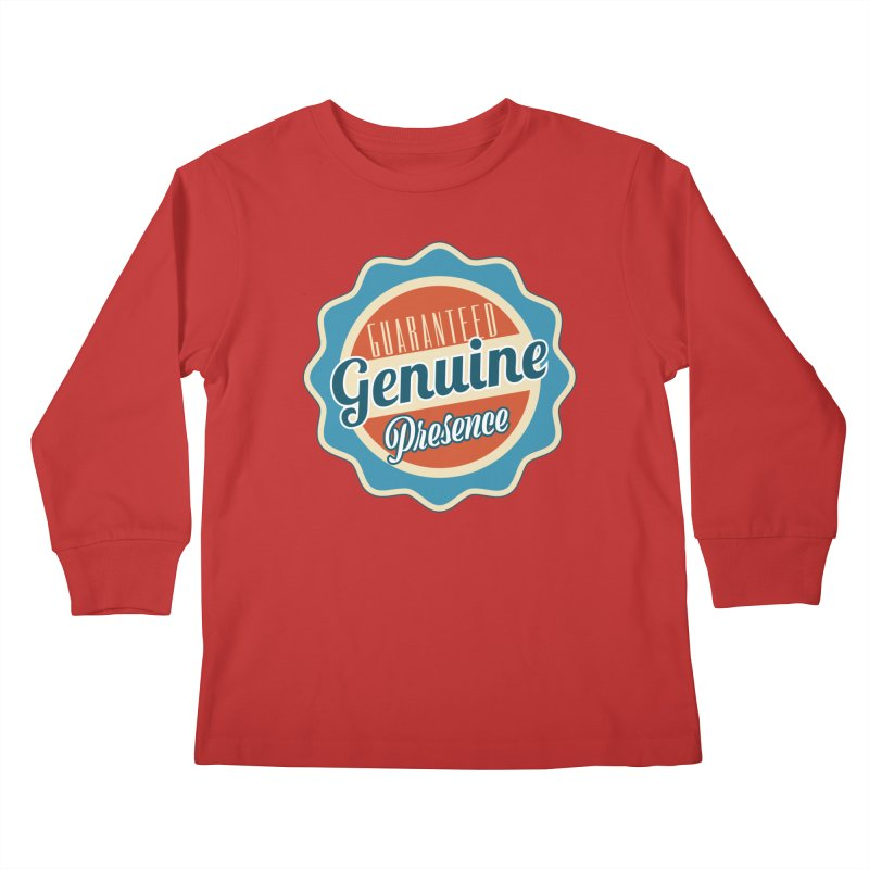 Retro-Style Genuine Presence Kids Longsleeve T-Shirt by The Daily Buddha Artist Shop