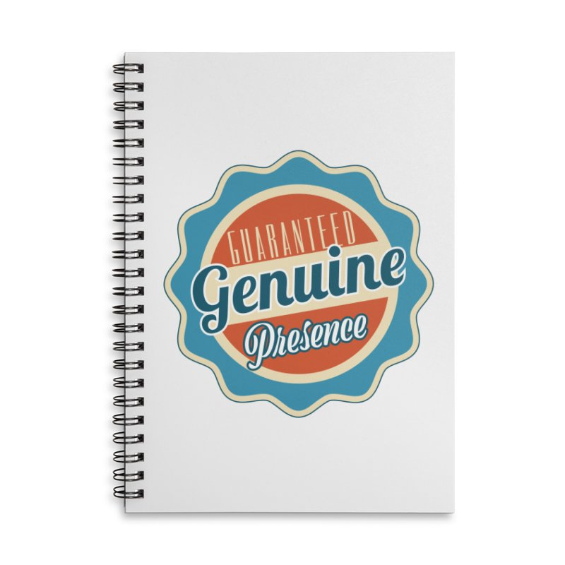 Retro-Style Genuine Presence Accessories Lined Spiral Notebook by The Daily Buddha Artist Shop