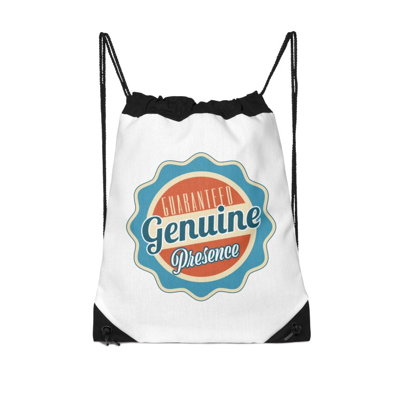 Retro-Style Genuine Presence Accessories Drawstring Bag Bag by The Daily Buddha Artist Shop