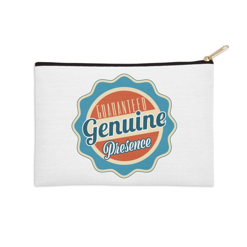 Retro-Style Genuine Presence Accessories Zip Pouch by The Daily Buddha Artist Shop