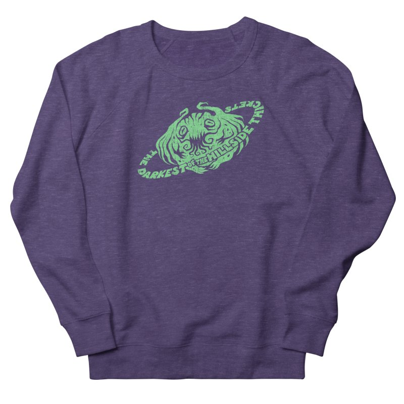 Planet Cthulhu (Distressed) Women's French Terry Sweatshirt by The Darkest of the Hillside Thickets Merchporium