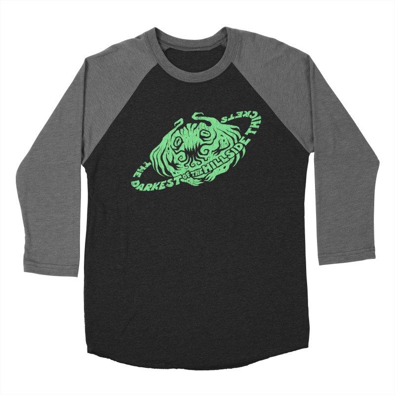 Planet Cthulhu (Distressed) Women's Baseball Triblend Longsleeve T-Shirt by The Darkest of the Hillside Thickets Merchporium