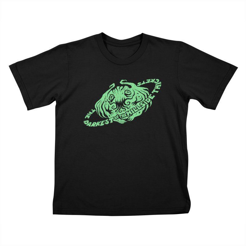 Planet Cthulhu (Distressed) Kids T-Shirt by The Darkest of the Hillside Thickets Merchporium