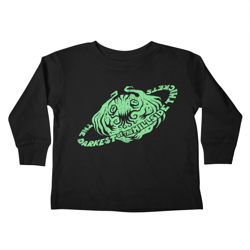 Planet Cthulhu (Distressed) Kids Toddler Longsleeve T-Shirt by The Darkest of the Hillside Thickets Merchporium
