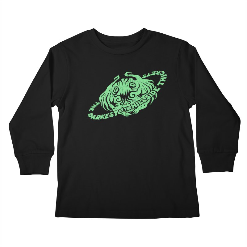 Planet Cthulhu (Distressed) Kids Longsleeve T-Shirt by The Darkest of the Hillside Thickets Merchporium