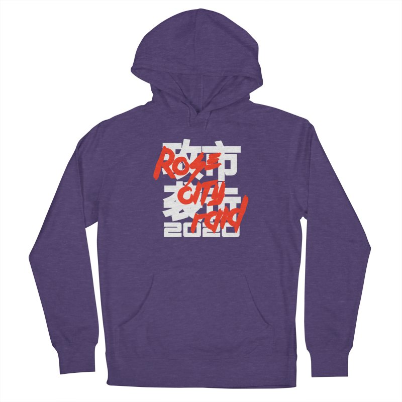 Rose City Raid 2020 White on Black Men's French Terry Pullover Hoody by thediceabide's Artist Shop