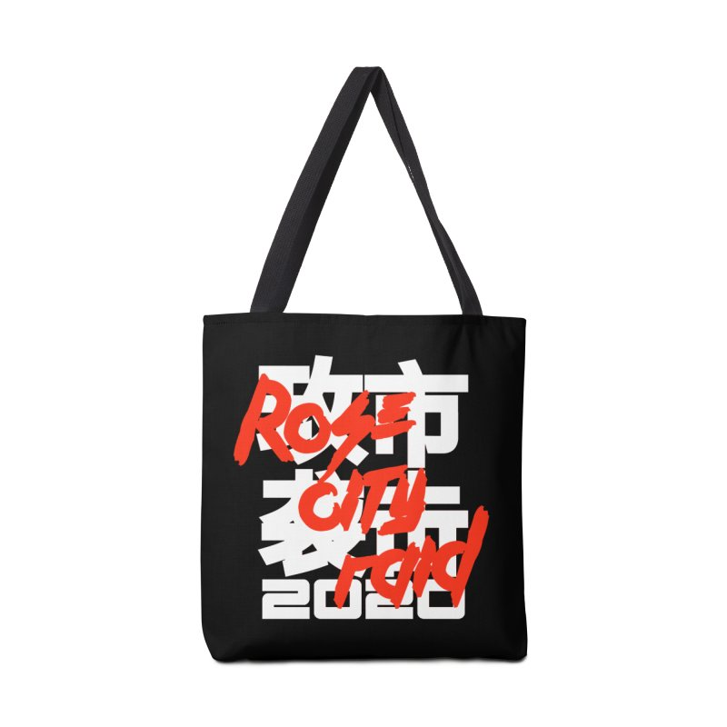Rose City Raid 2020 White on Black Accessories Tote Bag Bag by thediceabide's Artist Shop