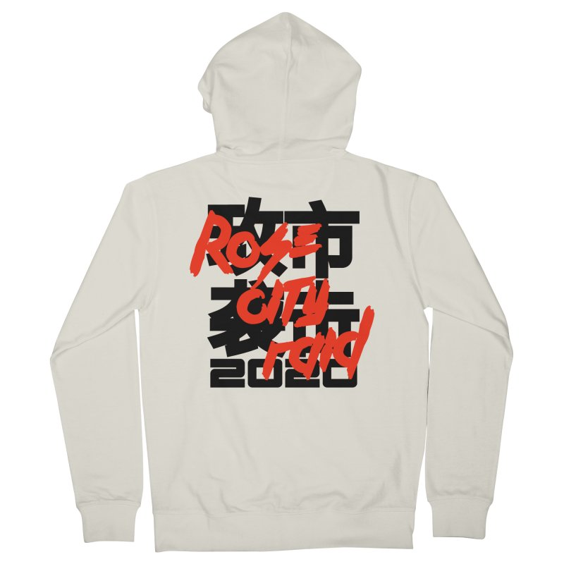 Rose City Raid 2020 Black on White Men's French Terry Zip-Up Hoody by thediceabide's Artist Shop