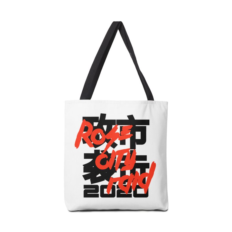 Rose City Raid 2020 Black on White Accessories Tote Bag Bag by thediceabide's Artist Shop