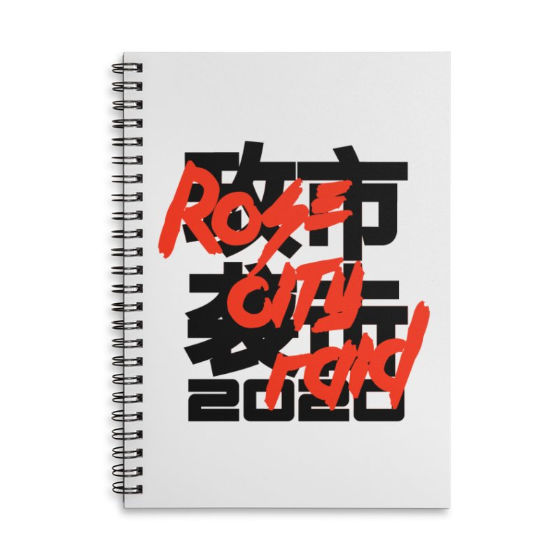 Rose City Raid 2020 Black on White Accessories Lined Spiral Notebook by thediceabide's Artist Shop