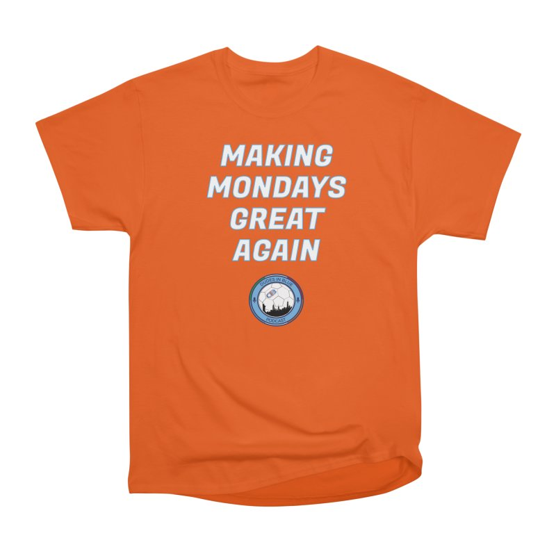 MONDAY BLUES in Men's Heavyweight T-Shirt Orange Poppy by THE DUDES IN BLUE SHOP