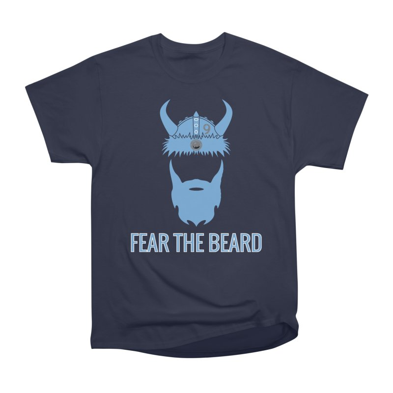 FEAR THE BEARD! in Men's Heavyweight T-Shirt Navy by THE DUDES IN BLUE SHOP