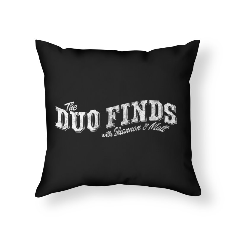 The Duo Finds Logo Aged Home Throw Pillow by The Duo Find's Artist Shop