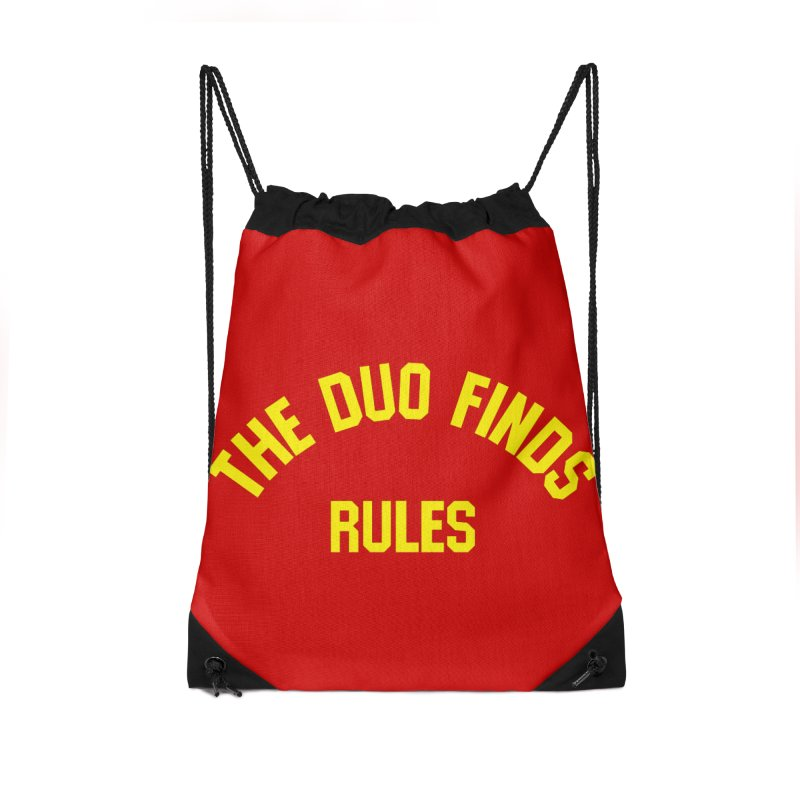 The Duo Finds Rules - Our take on the shirt from Monster Squad! Accessories Drawstring Bag Bag by The Duo Find's Artist Shop